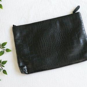 Faux Leather Croc Clutch